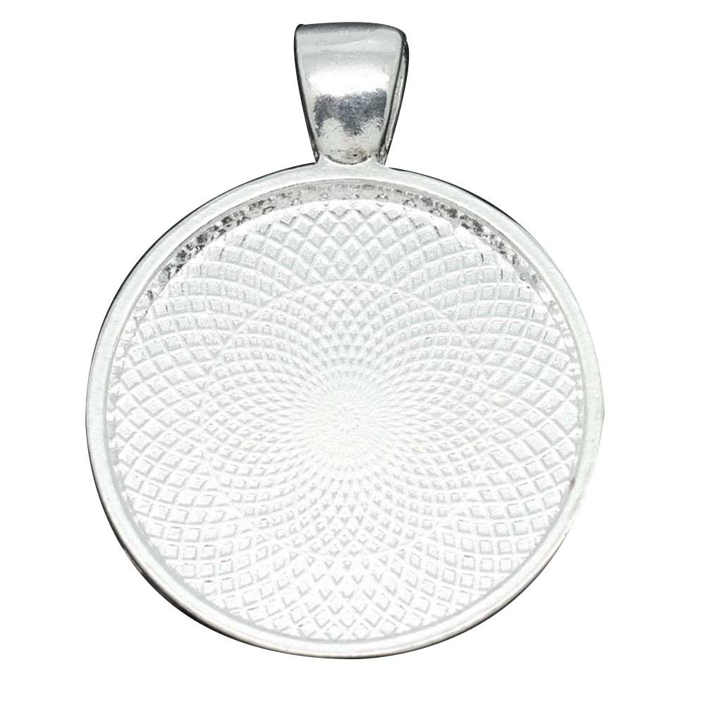 Circle Bezel Pendant - Silver Plated for Umbilical Cord Keepsake